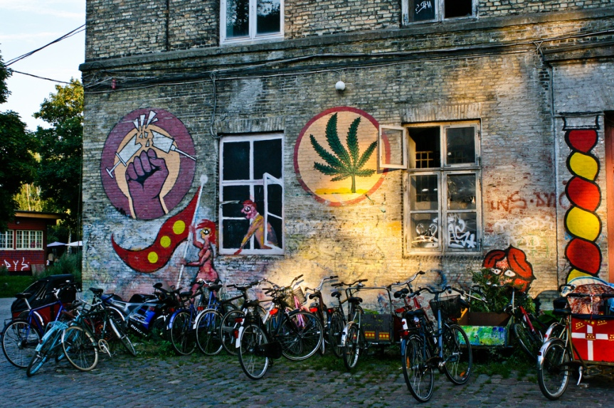 Graffiti in Christiania, bikes, Copenhagen