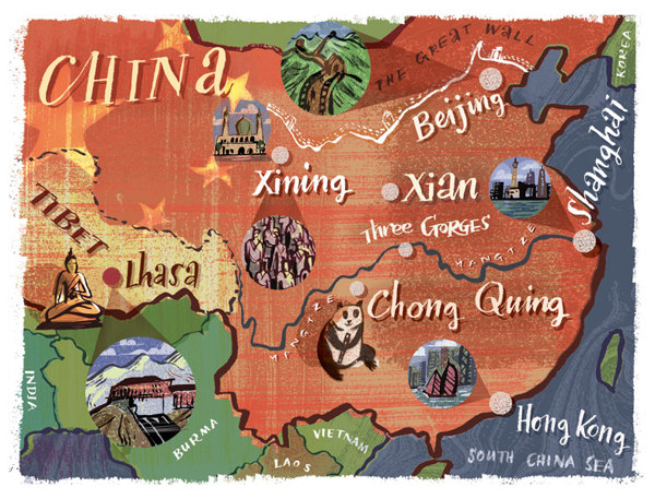 Illustrated maps of China